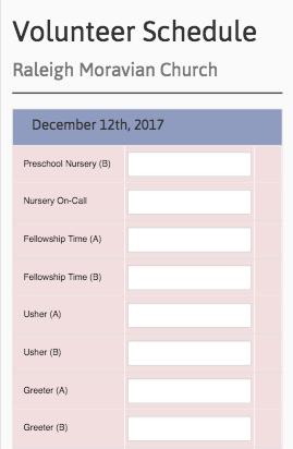 Church Volunteer Signup Sheet